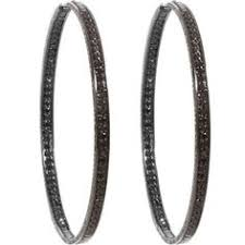 black diamond hoop earrings 1 05ct diamond inside out hoop earrings 14k white gold antique