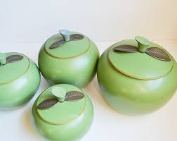 apple kitchen canisters green canisters etsy