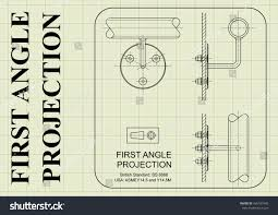 example first angle orthographic projection drawing stock vector