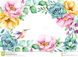 Foliage Flower - beautiful watercolor frame border with roses flower foliage