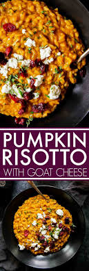 pumpkin risotto with goat cheese dried cranberries platings