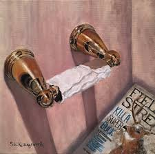 Etsy Bathroom Art Toilet Paper Roll Original Oil Painting By Sue Killingsworth
