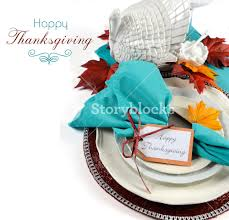 happy thanksgiving dining table place setting with vintage turkey