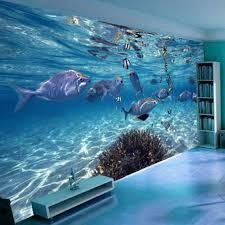 chambre aquarium 3d papier peint de bande dessinée créative sous marin monde la vie