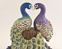 peacock wedding cake topper my custom cake topper