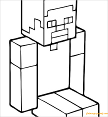 steve minecraft coloring free coloring pages