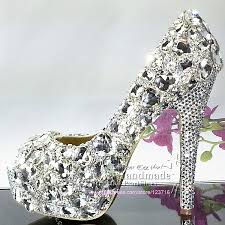 wedding shoes jeweled heels womens high heels glitter crystals platform peep toe diamond