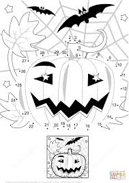 halloween night scene with pumpkin bats and spiderweb dot to dot