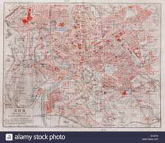 Map Rome Vintage Map Of Rome City At The End Of 19th Century Stock Photo