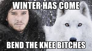 King Of The North Meme - winter has come bend the knee bitches the king of the north meme