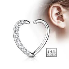 heart cartilage ear cartilage heart shape 14kt gold with cz paved daith hoop