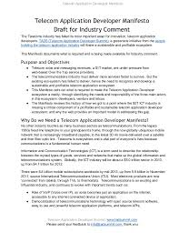 telecom application developer manifesto for industry comment