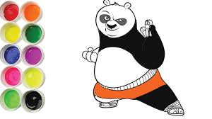 how to draw a cute panda kungfu panda coloring pages art