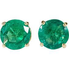 emerald stud earrings emerald earrings 14k gold columbian emerald stud earrings