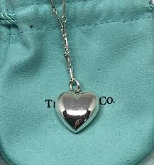 tiffany sterling heart necklace images Tiffany co sterling silver puffed heart necklace 18 quot queen may jpg