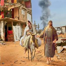 alternative charity christmas cards show nativity in war torn