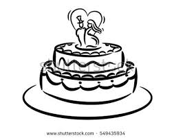 vector sketch wedding cake floral decoration stock vector