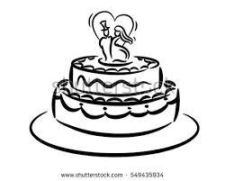 vector sketch wedding cake floral decoration stock vector