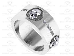 mens skull wedding rings sapphire studios mens 0 40ct diamond sterling skull wedding band ring