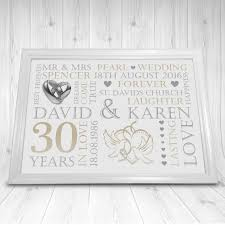 30th wedding anniversary gift ideas ideas gift for 30th wedding anniversary personalised pearl 30th