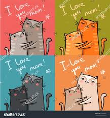 cards cats mothers day vector stock vector 484266832