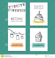 Birthday Party Cards Invitations Set Of Hand Drawn Birthday Party Cards Invitations Stock Vector