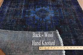Overdyed Runner Rug 4 X9 Floral Blue Overdyed Knotted Wool Runner Rug H9449