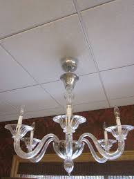 Plaster Chandelier by Two Clear Murano Glass Chandeliers Attributed To Venini For Sale