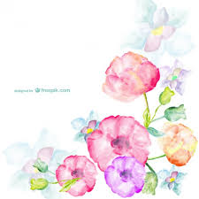 watercolor flowers greetings card vector free