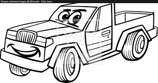 pickup car cartoon coloring vector yayimages