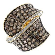 diamond cocktail rings beautiful 14k yellow gold withe chagne diamond cocktail ring
