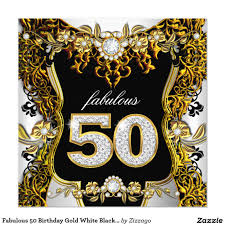 fabulous 50 birthday gold white black diamond card fabulous 50th