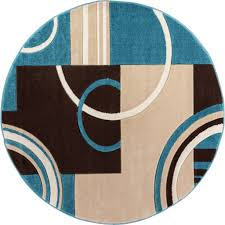 Area Rugs That Don T Shed by Echo Shapes U0026 Circles Blue U0026 Brown Modern Geometric Comfy Casual
