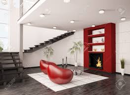 modern interior of living room with fireplace and staircase 3d