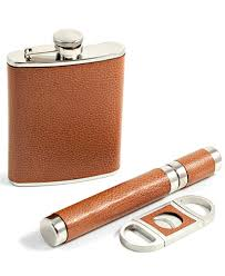 cigar gift set bey berk 6 ounce flask cigar and cutter gift set