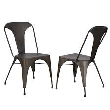 Outdoor Metal Dining Chairs Joveco Metal Stackable Tolix Style Dining Chairs Set Of 2 Bronze