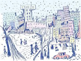 city street in winter sketch of scene stock vector colourbox