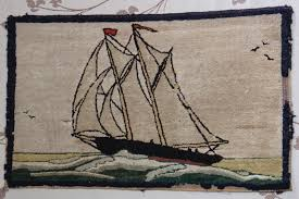 Burlap Rugs Truly Nova Scotian Bluenose Themed Hooked Rugs Classic Folk Art