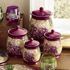 grape canister sets kitchen set of 4 grape vineyard canisters from seventh avenue 738235