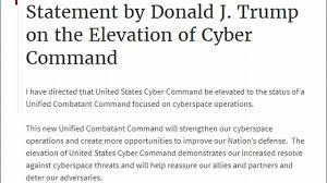 Combatant Command Map Trump Elevates Cyber Command To Unified Combatant Command Youtube