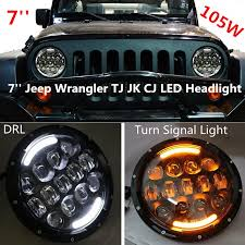 round led lights for jeep pair 7inch 105w round led headlight l white daytime runing lights