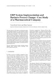 List Of Erp Systems Erp System Implementation And Business Process Change Case Study