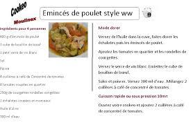 recette de cuisine cookeo fiche recette cookeo émincés de poulet à la tomate wwatchers