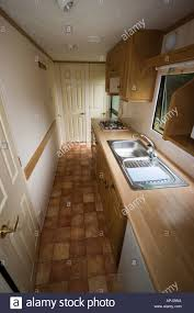 luxury caravan interior of a luxury static caravan sited on a caravan park stock