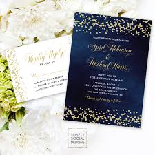 Wedding Invitation Reply Cards Navy Wedding Invitation Suite Faux Gold Glitter Confetti And