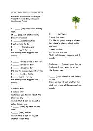 song worksheet lemon tree present simple u0026 continuous present