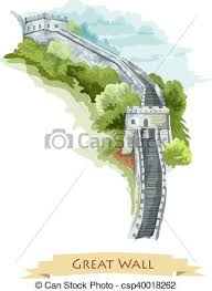 clip art vector of chinese great wall watercolor icon great