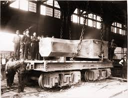 homestead steel workers with railroad flat car and 90 ton steel