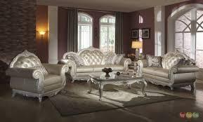 Traditional Leather Sofa Set Sofas Center Elegant Sofa Set Metallic Pearl Button Tufted