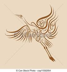 clipart vector of bird ornament 2 crane flying crane with curl